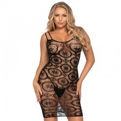 LEG AVENUE DAISY CROCHET MINI DRESS ONE SIZE