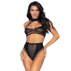 LEG AVENUE TOP Y PANTIES ALTOS TALLA UNICA